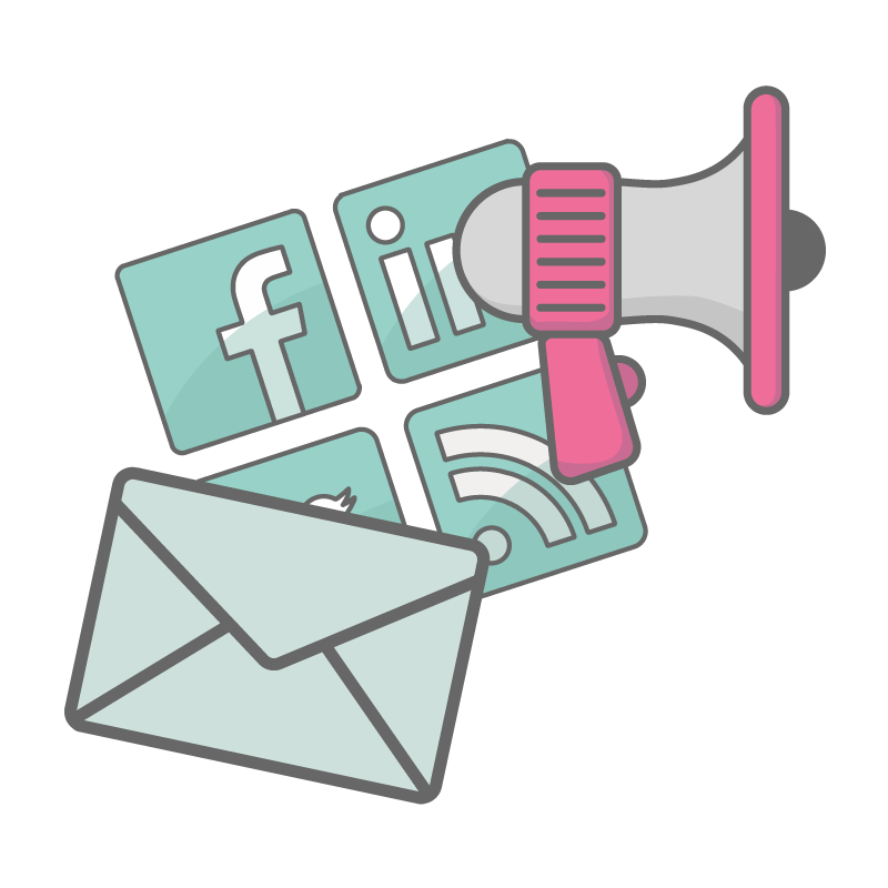 Email, social media and megaphone icons