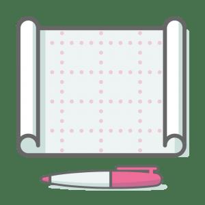 Blueprint plan and a pen