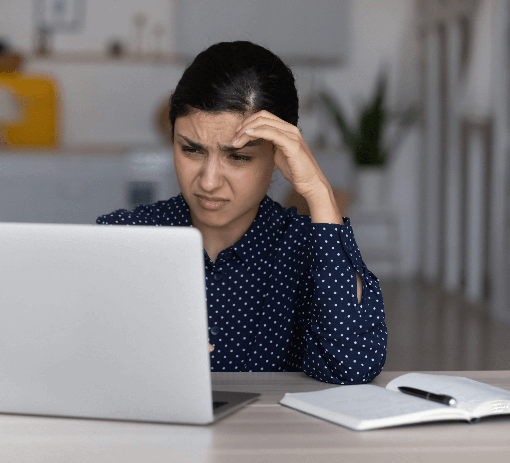Woman struggling with marketing strategy